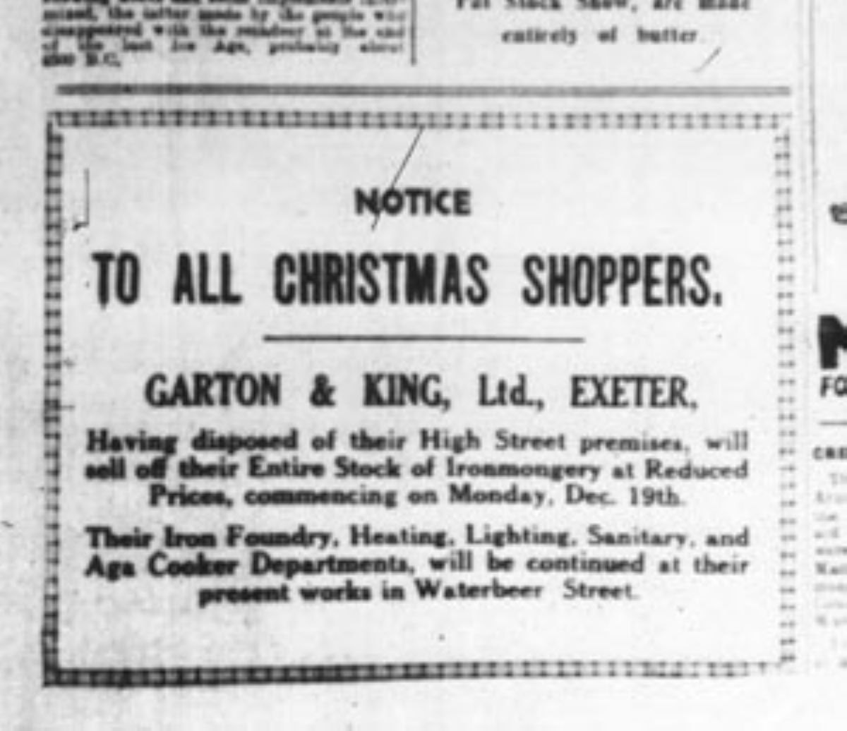 Christmas shoppers notice 1932